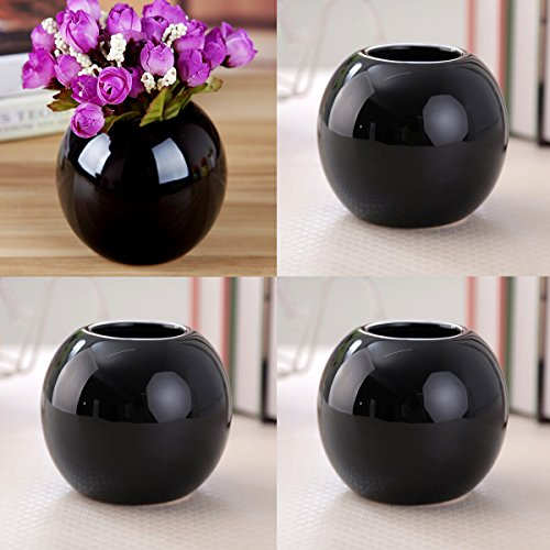 Set of 4 Vases Ceramic Plants Succulent Planter Pots Mini Decorative Bud Vase Garden Home Accent Gloss Colored Various 7 Colors (Set of 4 Black)