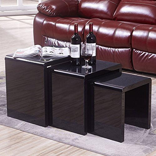 Mecor Nesting Coffee Table Set, 3 Piece Coffee Side End Table W/High Gloss Black for Living Room Set of 3 ()