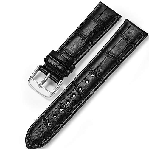 Watch Strap Black Bulova Mens - iStrap Genuine Calf Leather Watch Band Alligator Grain Padded for Men Women Color & Width (18mm,19mm, 20mm,21mm,22mm or 24mm) Gold Silver