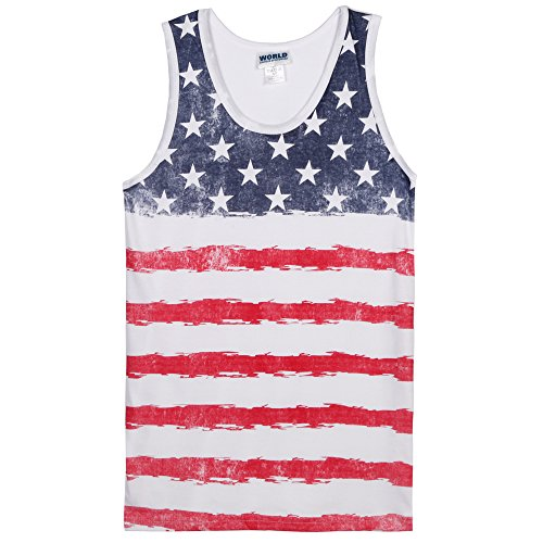 USA Distressed Stars and Stripes Mens Tank Top - White (Medium)
