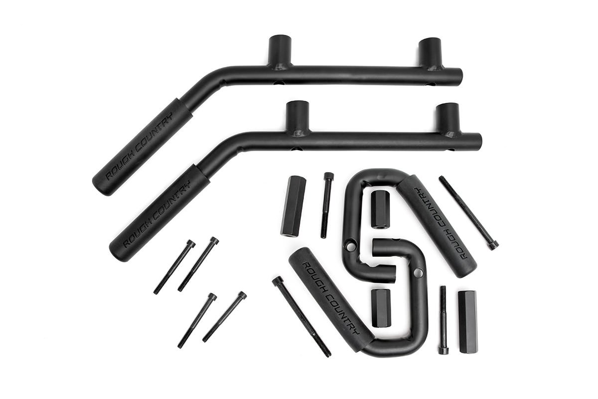 07-18 Wrangler Unlimited JK 4WD//2WD Set of 4 for Jeep Rough Country 6503 Rough Country-6503-Solid Steel Front /& Rear Grab Handles