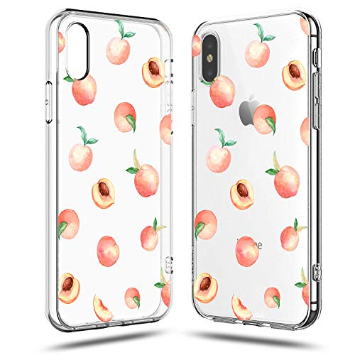 Compatible iPhone X Case,Lovely Fresh Girls Pink Cute Peach Funny Fruits Vacation Series Colorful Hipster Aloha Summer Tropical Hawaii Beach Sweet Women Girly Soft Transparent Clear iPhone X/Xs Case