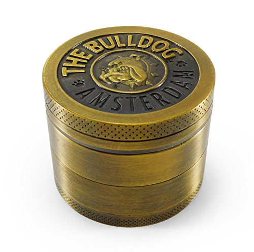 Best Tobacco, Herb and Spices Grinder for Weed and dry herbs,With Pollen, Kief Catcher. Bulldog Design by Kozo Grinders. 4 Piece Metal Zinc Alloy.