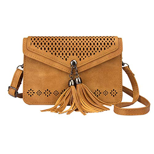 (Small Cell Phone Purse, Techcircle Hollow Out Carved Crossbody Bag with Tassels Pendant and Adjustable Shoulder Strap for iPhone 8 Plus/Xs Max/Xr, Samsung Galaxy S9 / S8 / S7 Edge, Brown)