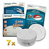 7x Nemaxx mini-FL2 Smoke detector - high quality & discreet Mini smoke detector with lithium battery - according to DIN EN 14604 + Nemaxx NX1 self adhesive fixing pad