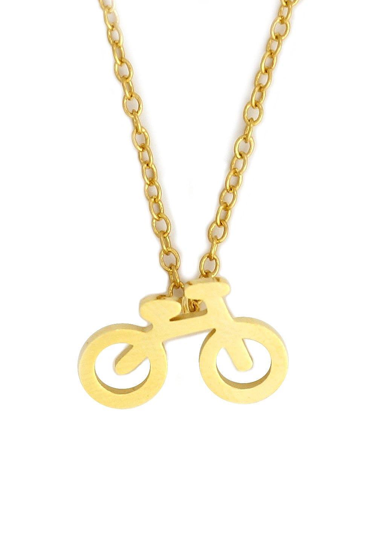 Magic Metal Bicycle Charm Necklace Gold Tone Bike Cyclist Pendant NY26 Fashion Jewelry