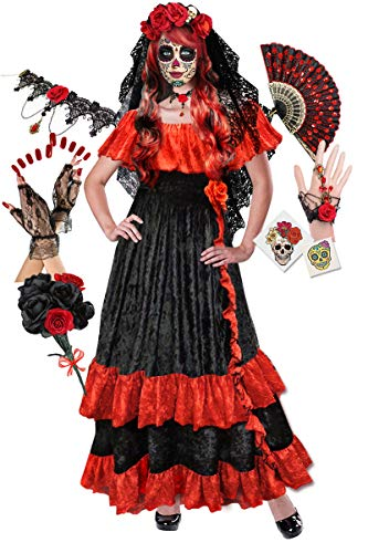 Dia De Los Muertos Plus Size Costumes (Plus Size Day of The Dead Halloween Costume Deluxe Wig Kit)