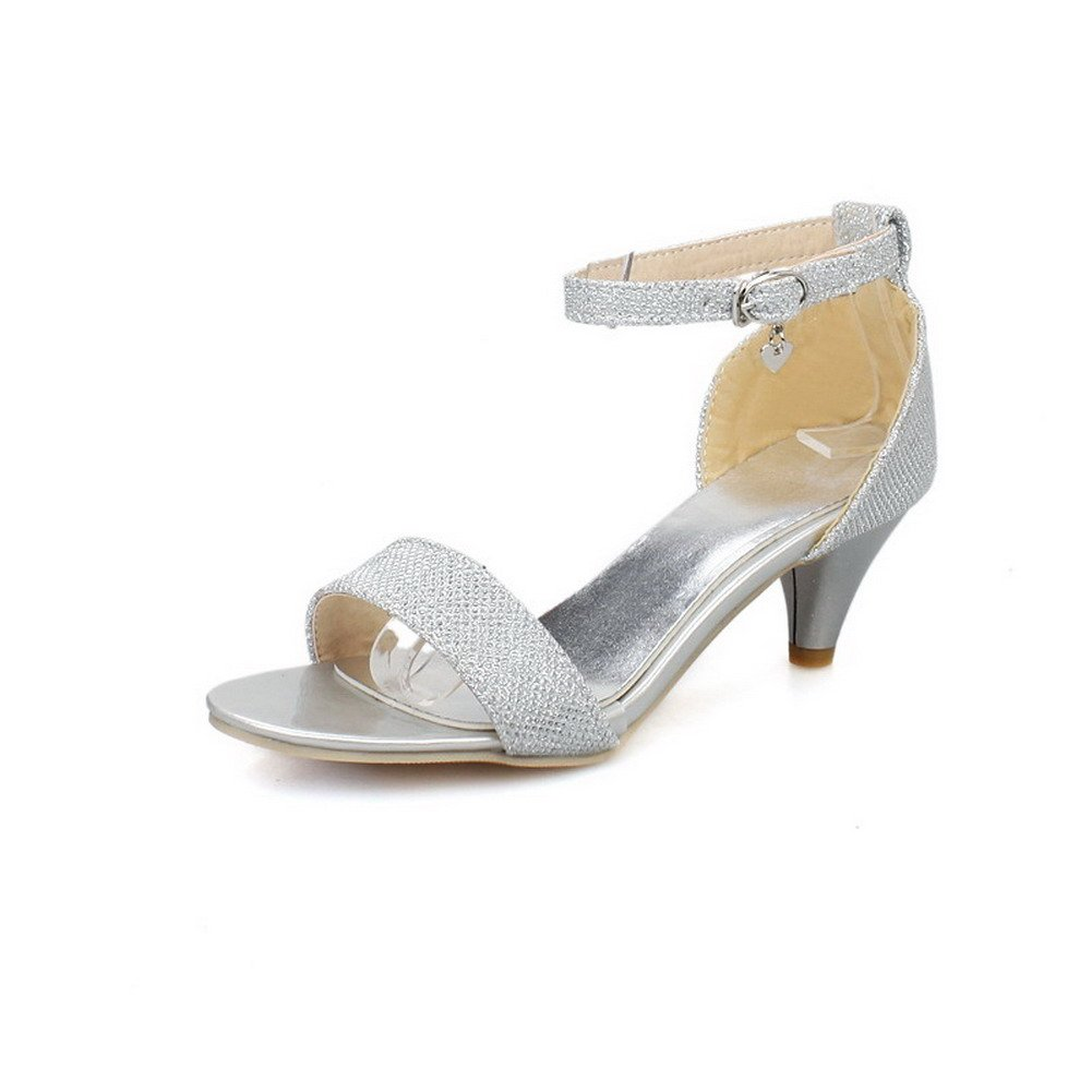 WeiPoot Women's Soft Material Buckle Open Toe Kitten-Heels Solid Sandals, Silver, 36
