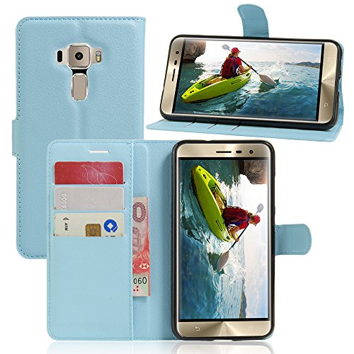 Scheam Asus ZenFone 3 ZE552KL 5.5 inch Wallet case Asus ZenFone 3 ZE552KL 5.5 inch case,Premium Design PU Leather & Soft TPU Built-in Card/Cash Slots,Wallet Case (Blue) ()