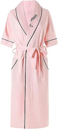 DUJUN Robe Toweling algodón Bata Albornoz Altamente Absorbente con Shawl Towel baño Abrigo,Batas de algodón de sección Delgada Rosa XL: Amazon.es: Hogar