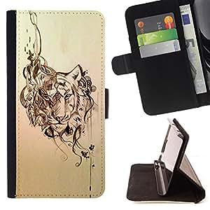 - tiger abstract floral pattern animal sketch - - Prima caja de la PU billetera de cuero con ranuras para tarjetas, efectivo desmontable correa para l Funny HouseFOR Samsung Galaxy S5 Mini, SM-G800
