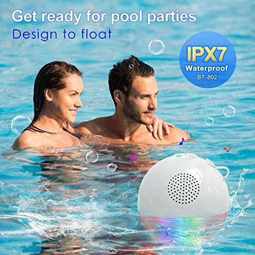 Bluetooth Portable Speaker with RGBW Lights,IPX7 Waterproof Speakers with Dual Drivers,Rich Bass,50ft Bluetooth Range,Built-in Mic,Portable Wireless Speaker for Home Outdoor Pool Hot Tub Shower Travel 51206yk1T1L