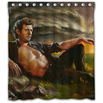 Weckim Custom Storm Jeff Goldblum Oil Paiting Waterproof Fabric Shower Curtain Colorful Design For Bathroom Decoration Size 66x72 Inches