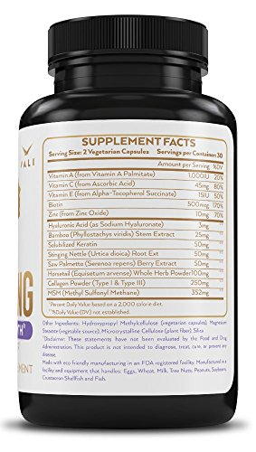Hair Health Growth Vitamins with Biotin & Keratin 60 Veggie Capsules. Extra Strength Supplement for Natural Fuller Hair, Skin, & Nails. For Women & Men For Damaged, Thinning & Hair Loss Regrowth