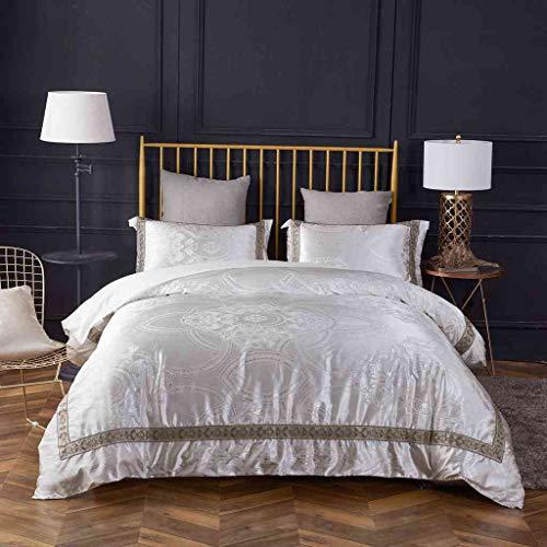 - Chesterch Prevoster Duvet Cover Set Satin Damask Bedding White Luxury European Neoclassical Style,3 Piece(Duvet & Down Comforter Cover 2 Pillowcases),King Size
