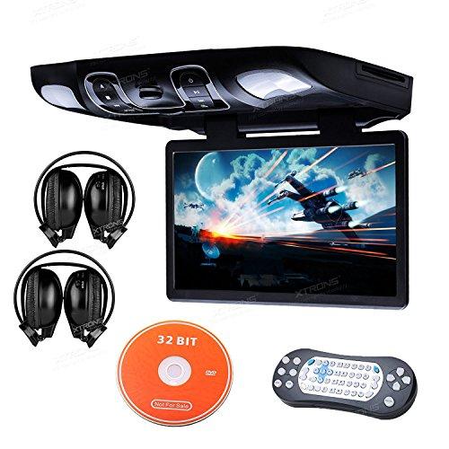 Digital Widescreen Car Overhead Coach Caravan Roof Flip Down DVD Player Game Disc (Black + IR Headphones) ()