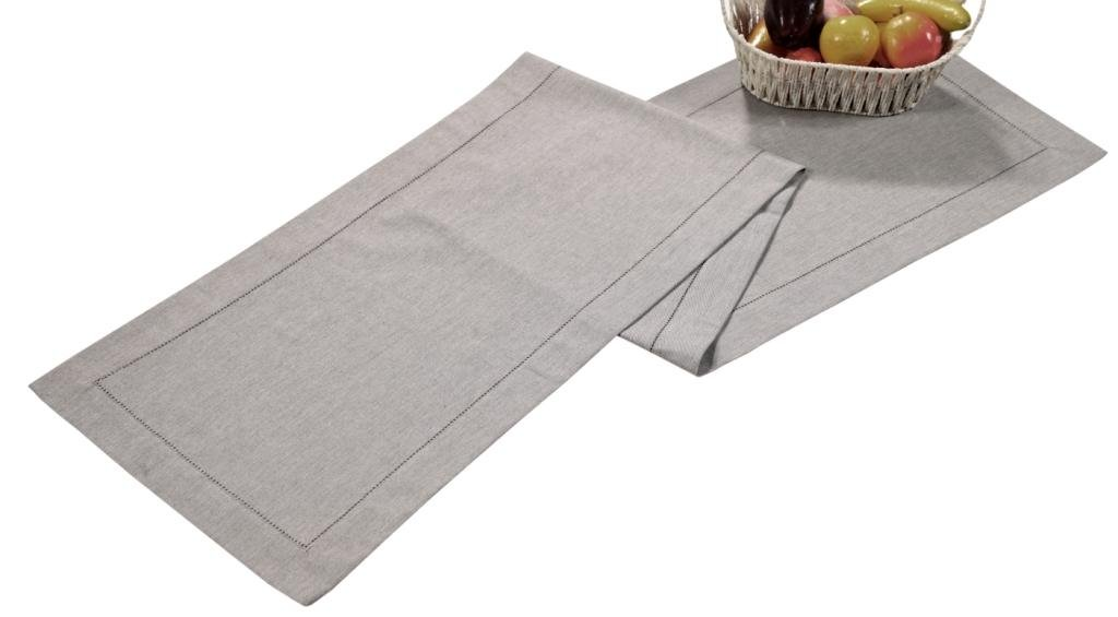 Linen Clubs Cotton Heavy chambray Hemstitched Table Runner -16x72 Charcoal White