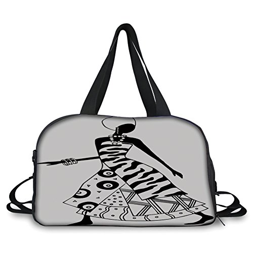 Travel handbag,African Woman,Woman Silhouette in Native Tribal Fashion Clothes Accessories Drawing Decorative,Black and White ,Personalized from iPrint