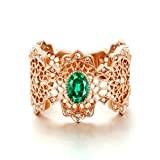 Gnzoe Rose Gold Women Wedding Rings Solitaire Engagement Rings Hollow Flowers Rose Gold with Green 0.532ct Emerald Size 9