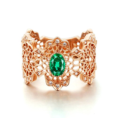 Gnzoe Rose Gold Women Wedding Rings Solitaire Engagement Rings Hollow Flowers Rose Gold with Green 0.532ct Emerald Size 9 by Gnzoe