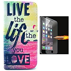 LCJ English Letters Pattern PU Leather Full Body Case with Explosion-Proof Glass Film for iPhone 6