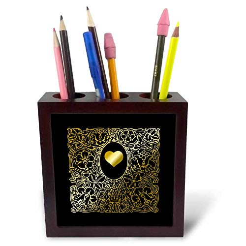 - 3dRose Russ Billington Designs - Image of Ornate Gold Effect Heart and Frame- not foil Embossed - 5 inch Tile Pen Holder (ph_291560_1)
