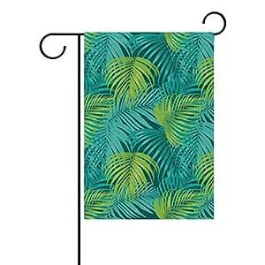 coosun hojas tropicales patrón poliéster Jardín Bandera en exteriores Bandera Home Party Jardín Decoración, doble cara, 28x 40