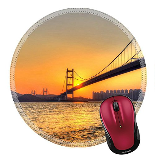 Liili Mouse Pad Natural Rubber Round Mousepad Bridge at sunset in Hong Kong Image ID - Shipping Expressway