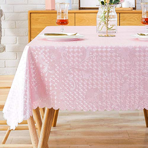 (Spillproof Tablecloth Oilcloth Picnic PVC Wipeable Plastic Vinyl Peva Oil-Proof Waterproof Heavy Duty Square Tablecloths for Outdoor Camping Hot Pink 54x54 Inch)