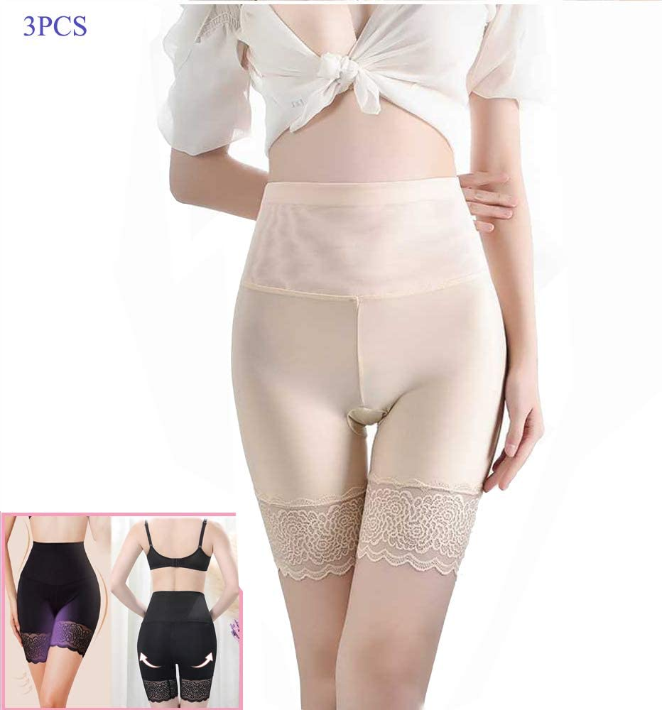Butt Lifter Shapewear M-L 3PCS,Black Hi-Waist Tummy Control Body Shaper Elastic Anti-Chafing Thigh Bands Anti-Chafing Slipshorts with Leg Lace