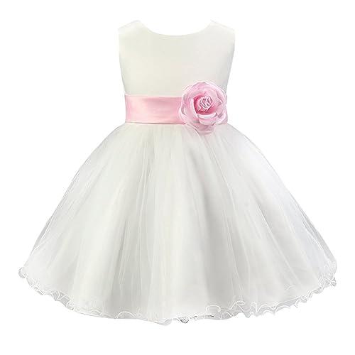 Free Fisher - Vestido Blanco de Princesa Fiestas Boda para Niñas Vestidos Elegantes de Noche