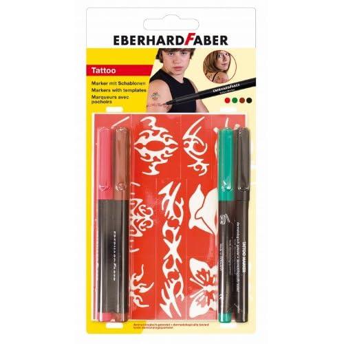 EBERHARD FABER Marqueur 559501Tattoo Basic Carte Blister de 4