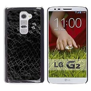 TECHCASE**Cubierta de la caja de protección la piel dura para el ** LG G2 D800 D802 D802TA D803 VS980 LS980 ** Black Mesh Triangle 3D Futuristic Textile