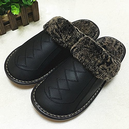 Pantofole fankou femmina maschio inverno anti-slittamento di spessore caldo cotone shoes home paio di pantofole di cotone ,41-42, nero