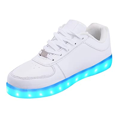 LeKuni Zapatillas con Luces LED 7 Colores USB Carga Luz Luminosas Flash Zapatos de Deporte para