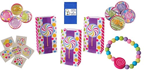 Sweet Candy Party Favor Set Includes Candy Bags, Tattoos, Maze Games, Bracelets, And Bouncy Balls (60 Piece Set)
