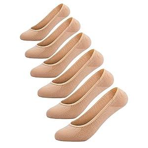 Women's No Show Liner Socks 6 Pairs Ultra Low Cut Nylon Casual Socks Non Slip Beige