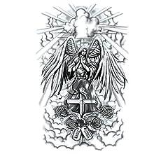 Angel Demonio Estilo Europeo y Americano Pegatinas de Tatuaje a ...