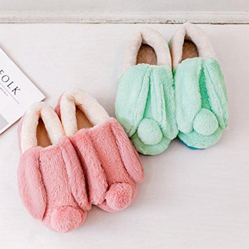 Chaussons DWW Pantoufles en Pur Coton Hiver Chaud Anti-Dérapant Épais Mignon Chaussures de Maison DIntérieur (Couleur : Vert, Taille : EUR:35-36)