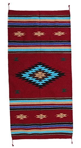 - El Paso Designs Hand Woven Southwest Accent Rug 20 x 40 inch- Hand-Crafted Native American Style Accent Rug Tapestry