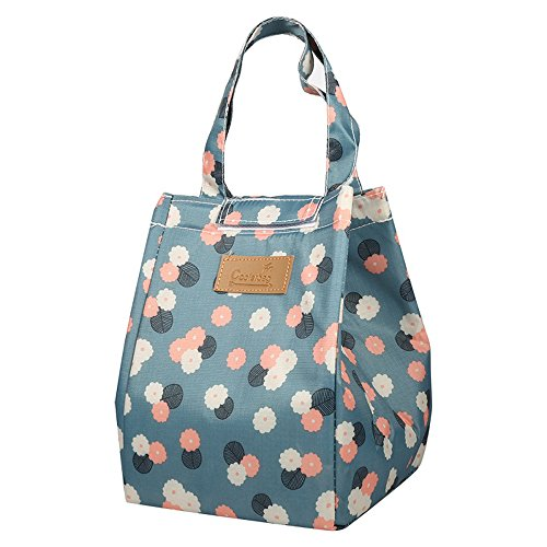 Oxford Fold Over Tote - Corasays Reusable Cooler Insulated Lunch Bag with Handles, Fold-over Oxford Cloth Aluminum School Travel Cooler Lunch Box Fresh Bottle Tote Bag (Blue flower)