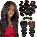 9A Brazilian Virgin Hair 3 Bundles With Closure Body Wave 18 20 22 With 16Inch Middle Part Closure 100% Unprocessed Human Hair Weave Bundles With Top Quality Lace Closure Brazilian Body Wave For Sale