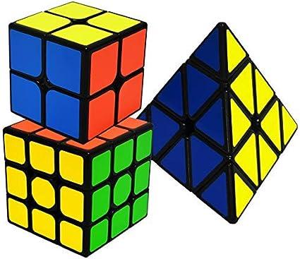 EASEHOME Speed Cubes Magic Puzzle Cube Set Pyraminx + 2x2x2 + 3x3x3, 3 Pack Rompecabezas Cubo Mágico PVC Pegatina para Niños y Adultos