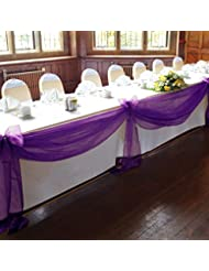 VLoveLife 33ft Purple Sheer Organza Top Table Swag Fabric Table Runner  Chair Sash Wedding Car Party