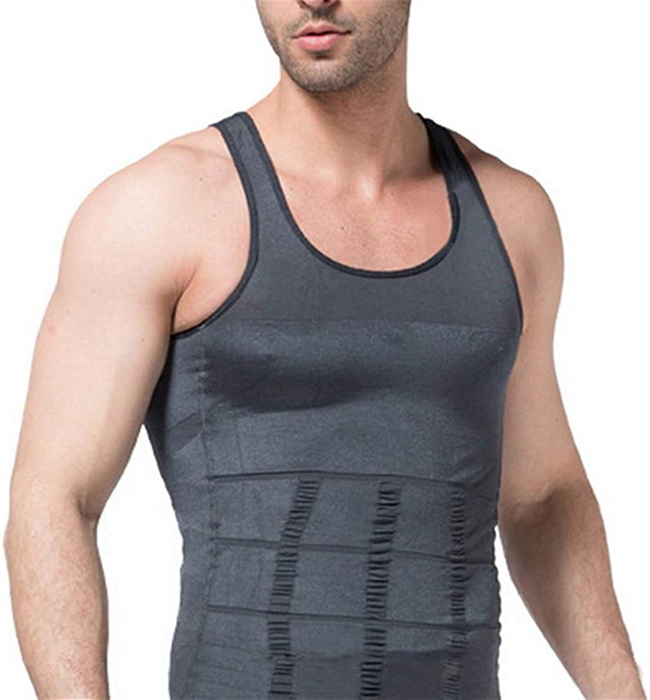 Msliy Herren Jungen Bodyshaper Fitness Shape Shirt Figurformend Shapewear Training Tank Top Gym Bodyshape Tr/äger Sportbekleidung