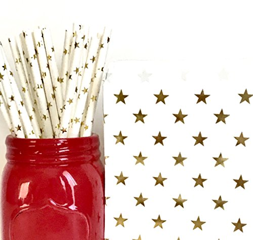 Golden Celebration Favor Cake - Combo Pack - 50 Gold Star Paper Straws & 50 Gold Star Paper Favor Bags