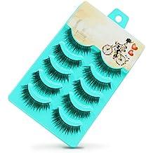False Eyelashes, PrettyMakeUp 5 Pairs Black Long Thick Soft Flase Eye Lashes Reusable for Makeup Cosmetic Fake Eyelashes Christmas Gifts