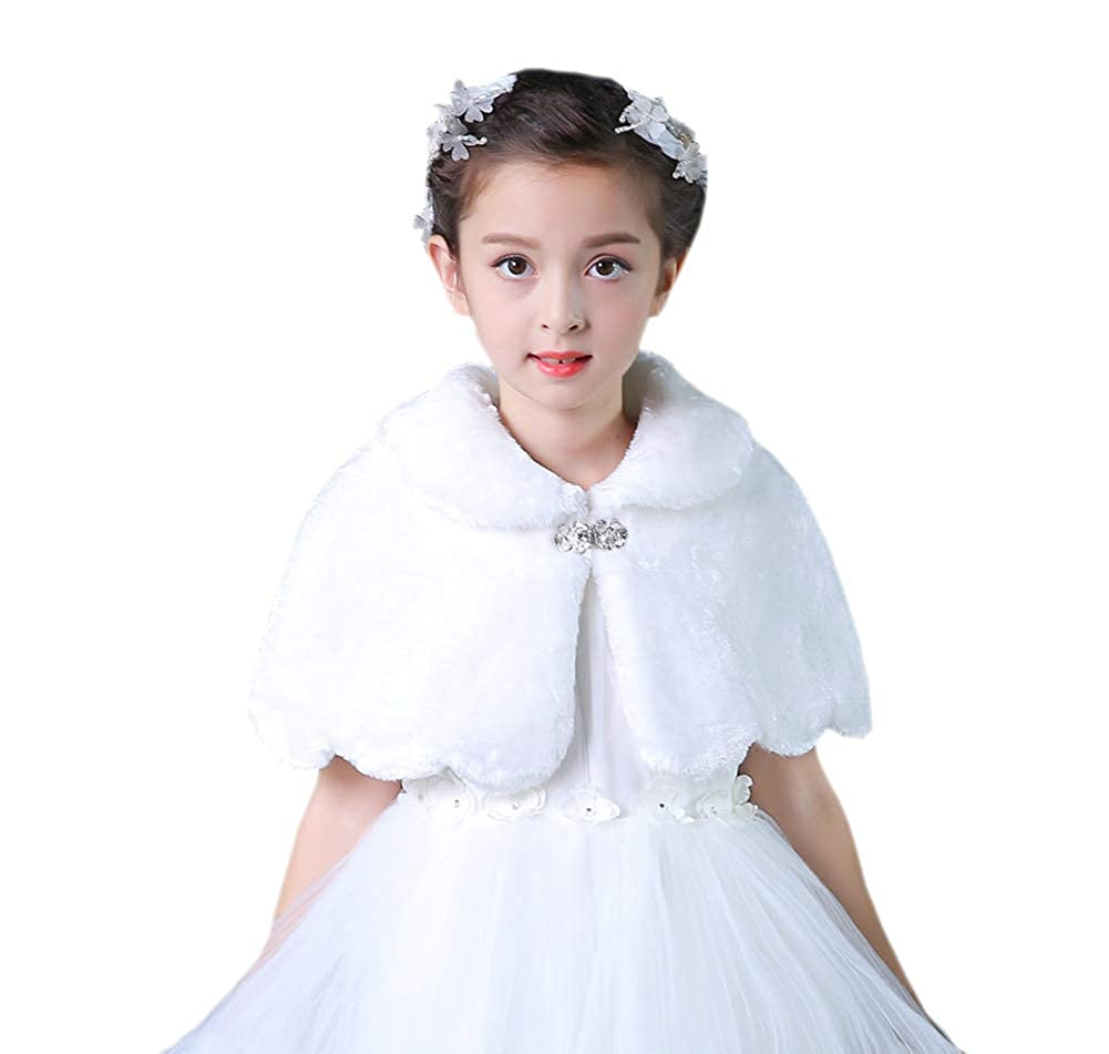 Tortor 1Bacha Kid Wedding Flower Girl Faux Fur Princess Stole Shawl Wrap White NL140-WT-150