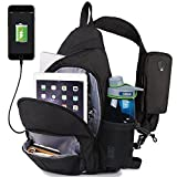 Anti-Theft Sling Bag Travel Crossbody Backpack for 12 Inch Notebook with USB Charging Port Waterproof Rain Cover
