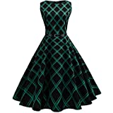 kaifongfu Women Dress,Vintage Floral Bodycon Plaid Sleeveless Casual Evening Party Dress (L, Green)